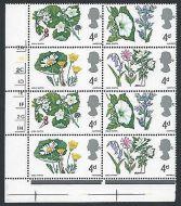 1967 British Wild Flowers 4d (Ord) Cylinder Block - MNH