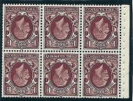 NB26a 1½d Photogravure Small Format pane of 6 wmk inverted UNMOUNTED MINT/MNH