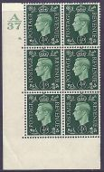 Variety ½d Green Dark colours A37 8 Dot Perf 5(E/I) block 6 UNMOUNTED MINT
