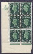 1937 ½d Green Dark colours C38 35 Dot Perf 5(E/I) block 6 UNMOUNTED MINT/MNH
