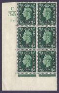 1937 ½d Green Dark colours C38 43 No Dot state (ii) block 6 UNMOUNTED MINT/MNH