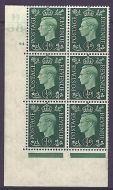 1937 ½d Green Dark colours D38 64 No Dot perf 5(E/I) block 6 UNMOUNTED MINT/MNH