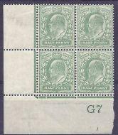 1907 M2(-) ½d Very Pale Yellow Green Control G7 De La Rue UNMOUNTED MINT/MNH