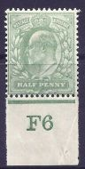 sg217 M2(1) ½d Very Pale Yellowish Green Control F6 imperf De La Rue MOUNTED