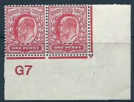 Sg 220 M5(4) 1d Rose Carmine Control G7 imperf plate 31 UNMOUNTED MINT/MNH
