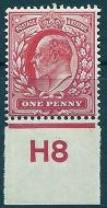 Sg 220 M5(4)var 1d Unlisted Carmine Control H8 imperf single UNMOUNTED MINT/MNH