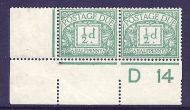 D1 ½d Royal Cypher Postage due D14 control pair Unmounted mint