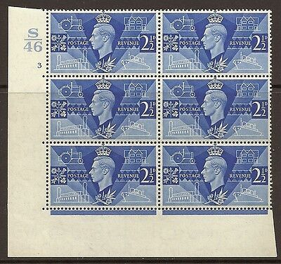 Sg 491 1946 Victory Cylinder S46 3 No Dot UNMOUNTED MINT/MNH
