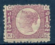 sg48 ½d Rose Red Plate 12 Lettered K-C UNMOUNTED MINT - toned