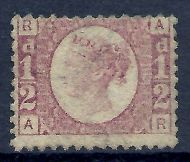 sg48 ½d Rose Red Plate 13 Lettered A-R MOUNTED MINT - no gum