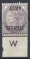 sg043 1d Lilac ARMY OFFICIAL overprint on W perf Control MOUNTED MINT