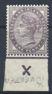 1d lilac control X inverted imperf single with jubilee line MOUNTED MINT