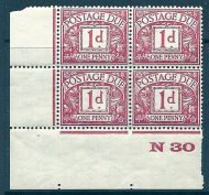 D11 1d Block Cypher Postage due Control N30 imperf UNMOUNTED MINT/MNH