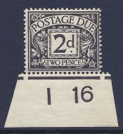 D4 2d Royal Cypher Postage due Control I16 imperf UNMOUNTED MINT