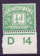 D1 ½d Royal Cypher Postage due Control D14 imperf UNMOUNTED MINT