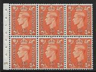 QB7 ½d Pale Orange booklet pane perf type I cylinder E85 N Dot UNMOUNTED MNT/MNH