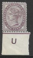 Sg 172 1d lilac control U imperf Single MOUNTED MINT in margin only