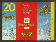 LX3 1992 Christmas Barcode Booklet 20 x 2nd Class (18p) - complete