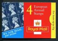HF1 1999 4 x E European Airmail Stamps booklet 0845 number - complete