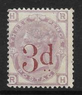 1880 - 1883 Sg 159 3d on 3d Lilac plate 21 UNMOUNTED MINT - toned gum