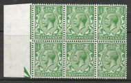 Sg 418wi ½d Green Block Cypher Wmk Inverted block of 6 UNMOUNTED MINT/MNH