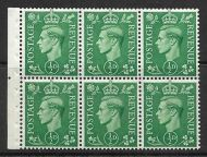 QB4 perf type I (Ie middle) - ½d Pale Green Booklet pane UNMOUNTED MINT