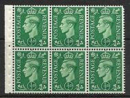 QB4 perf type I - ½d Pale Green Booklet pane UNMOUNTED MINT/MNH