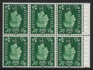 QB1a ½d Green Inverted Booklet pane perf type P UNMOUNTED MINT/MNH