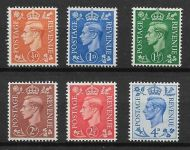 1950-52 GVI Colour change Upright Set of 6 stamps UNMOUNTED MINT