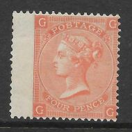 Sg 93 4d Dull Vermilion plate 13 Lettered G/G UNMOUNTED MINT