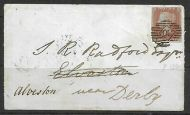 1d Penny Red Plate 125 lettered S-T - on cover with Alvaston undated cancel rare