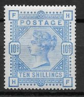 1883 Sg 183 10s Ultramarine Wmk Anchor Lettered H-F UNMOUNTED MINT
