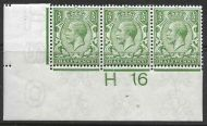 N14(12) ½d Olive Green Control H16 Imperf strip of 3 UNMOUNTED MINT
