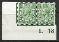N14(14) ½d Blue Green Control L18 Imperf pair UNMOUNTED MINT