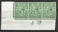 N14(6) ½d Bright Green Control J17 Imperf strip of 3 UNMOUNTED MINT