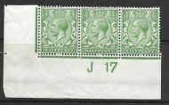 N14(3) ½d Pale Green Control J17 Imperf strip of 3 UNMOUNTED MINT