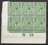 N14(14) ½d Blue Green Control N19 Imperf block of 6 MOUNTED MINT in margin