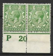 N14(1) ½d Green Control P20 perf pair MOUNTED MINT
