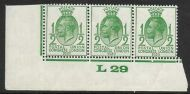 1929 ½d PUC Control L 29 strip of 3 UNMOUNTED MINT