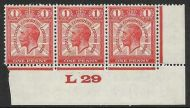 1929 1d PUC Control L29 Strip of 3 UNMOUNTED MINT MNH