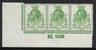 1929 ½d PUC Control K 29 strip of 3 UNMOUNTED MINT MNH