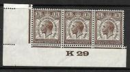 1929 1½d PUC Control K 29 Marginal Strip of 3 UNMOUNTED MINT with faults