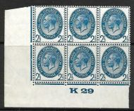 1929 2½d PUC Control K29 Block of 6 UNMOUNTED MINT