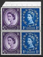 SB36a variety Wilding booklet pane perf type I(½v) UNMOUNTED MNT MNH