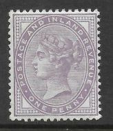 Sg 172a 1d Bluish Lilac 14 Dot with PTS cert - UNMOUNTED MINT