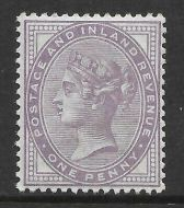 Sg 172a 1d Bluish Lilac 14 Dot with original PTS cert - perfect UNMOUNTED MINT