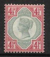 Sg 206 Spec K34(4) 4½d Green  Dull Scarlet Jubilee UNMOUNTED MINT