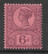 Sg 208a K37(2) 6d Deep Purple on Rose Red Paper Jubilee UNMOUNTED MINT