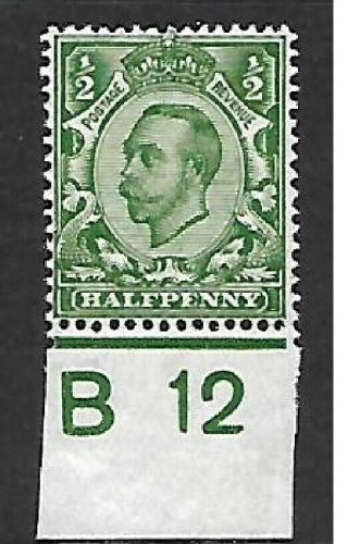 Sg 340 ½d Green Downey Head Control B 12(c) UNMOUNTED MINT MNH