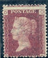 1869 1d Red Plate 129 Lettered Q-D UNMOUNTED MINT